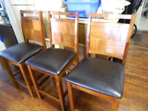 3 WOODEN BAR STOOLS