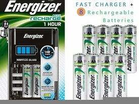Energizer Fast Charger + 8 AA Energizer Rechargeable Batteries