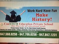 Private School (Grade 1--12), High School credits,Tutoring,MHF4U