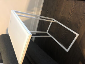 Modern Frosted Glass End Table, pristine condition
