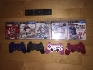 Playstation 3 - 5 games, 4 wireless controllers, and remote!