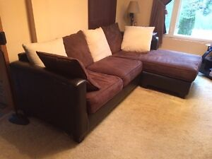 Dark/Chocolate Brown 2pc Sectional Lounger Couch