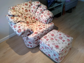 Armchair with footstool excellent condition.