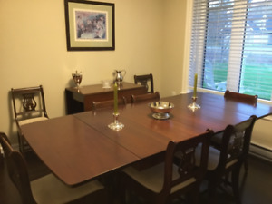 Duncan Phyfe set; table, ten chairs, and two china cabinets