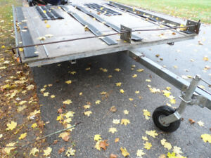 Snowmobile/Atv Flatbed Tilt & load Double Trailer,Works Great