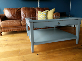 Ikea square grey glass top coffee table