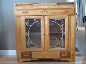 Antique china cabinet with cutlery storage, solid wood