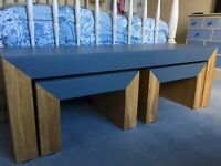 Oak/Grey unique nest of tables - reduced to £60