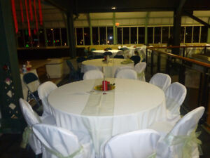 WHITE CHAIR COVERS FOR ROUND-TOP BANQUET CHAIRS
