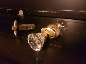 Antique glass door handle sets (2 available)