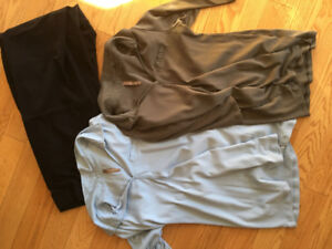 Maternity dress pants and two shirts.
