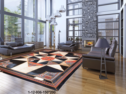 Modern Rug cowhide and kilim,unique rug 1-12-936-150*200