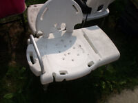 Double width Bath Chair with back support & hand rail transport