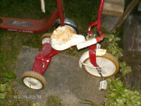 Old red and white tricycle
