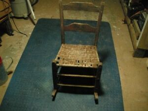 Antique Primitive Rocking Chair, Rustic, With Woven Seat