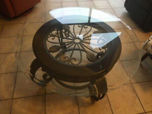 2 Round beveled Glass top coffee table  &  Side table