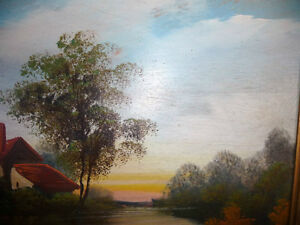 """Vintage Oil Painting, """"Early Morning River"""" 1920's Stratford Kitchener Area image 10"""