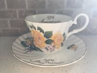 50th Anniversary Teacup and Saucer, English Luxford Bone China