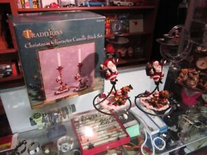 Christmas Wrought Iron Candle Stick Set In Box For Sale