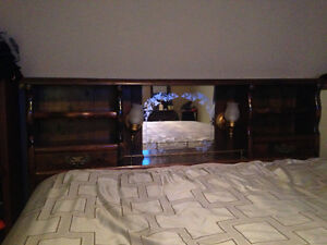 King bookcase headboard/frame + 9 drawer dresser with 2 mirrors Sarnia Sarnia Area image 1