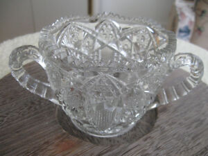 CHARMING OLD ANTIQUE DOUBLE-HANDLED GLASS SUGAR BOWL