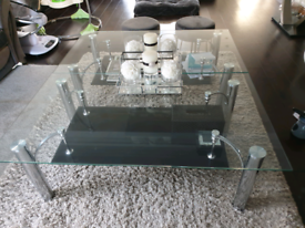 2 large glass coffee tables