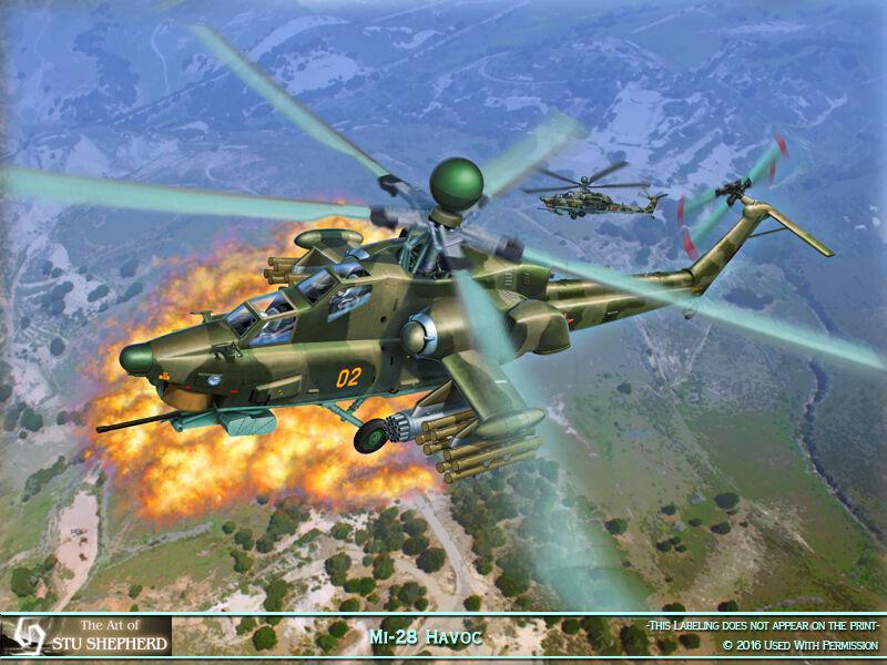 ART PRINT:  MI-28 Havoc Russian helicopter -  by Shepherd