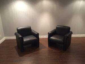 "Two Black ""Vegan Leather"" Chairs"