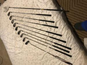 Full golf set for sale w/ bag (Taylor made burner irons)
