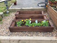 3 rustic wooden garden planters