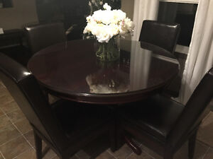 Solid Mahogany Round Dining Table with Pedestal Base and Glass T
