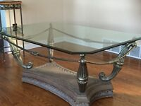 COFFEE TABLE, TWO END TABLES, SOFA TABLE; OAK KITCHEN TABLE