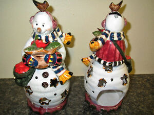 Pair of Christmas Snowman Candle Holders
