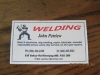 ALUMINUM/ STAINLESS STEEL/ STEEL WELDING  AVAILABLE