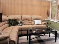 Cream leather electric corner sofa