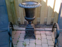 PAIR BLACK WROUGHT IRON URNS
