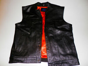 Heavy Leather Vest Size 48 ~ Orange Lining