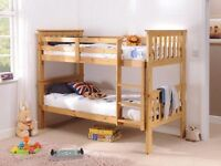 Pine Solid Slatted Wood Snuggle Madison Kids Bunk Bed Frame 3FT Single with two mattresses