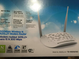 TP LINK 300 mbps wireless N ADSL +2  Modem and router