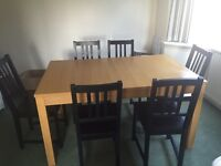 Table and chairs IKEA extendable can seat 6 or 9