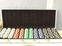 Large poker table and chips