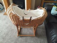 Mothercare The Snug Moses Basket and mothercare rocker stand