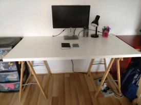 White table 1.5m long 75 cm width.