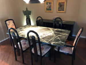 Marble Table, Hutch and Chairs