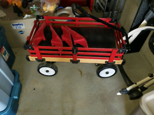 Red wagon with skis