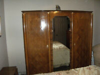 ROSEWOOD FRENCH ARMOIRE  BED AND NIGHT TABLE