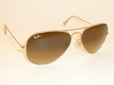 New RAY BAN Aviator Sunglasses  Matte Gold  RB 3025 112/85  Gradient Brown  (Ray Ban 3025 Gold Brown Gradient 55mm)