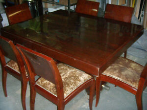 ART DECO DINING TABLE & 6 CHAIRS FRENCH 1925