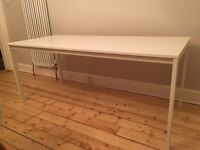 Large narrow white gloss dining table