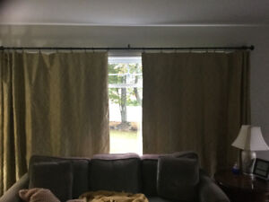 2 pair of lined drapes w/ hardware